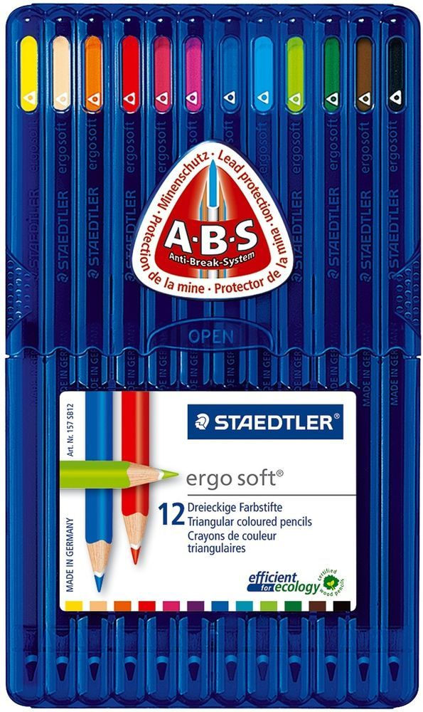 Details About Staedtler Ergo Soft Triangular Coloured Pencil 12