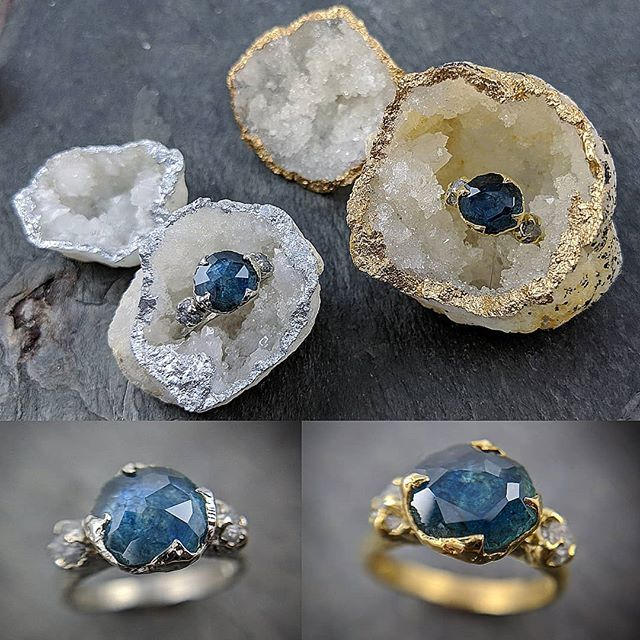 d6b42fe3e We finished a couple new Montana sapphire rings. Stones cut by my hubby.  Gold