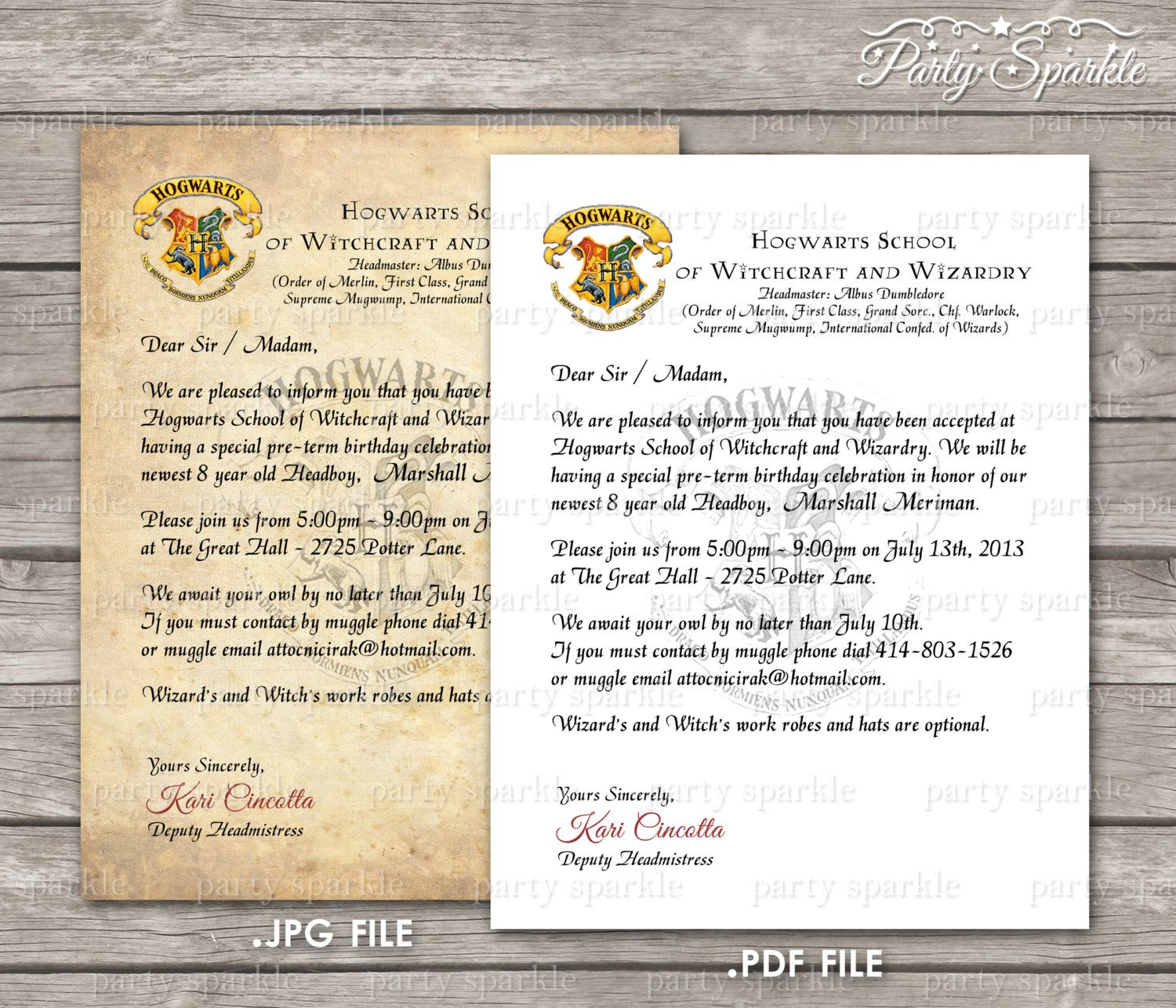 PRINTABLE Hogwarts Acceptance Letter Invitation by