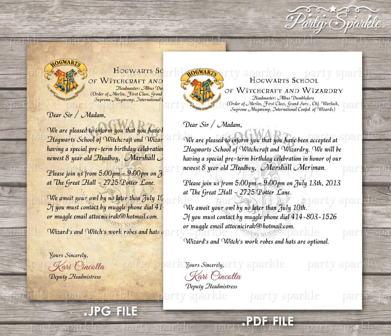 PRINTABLE Hogwarts Acceptance Letter Invitation by
