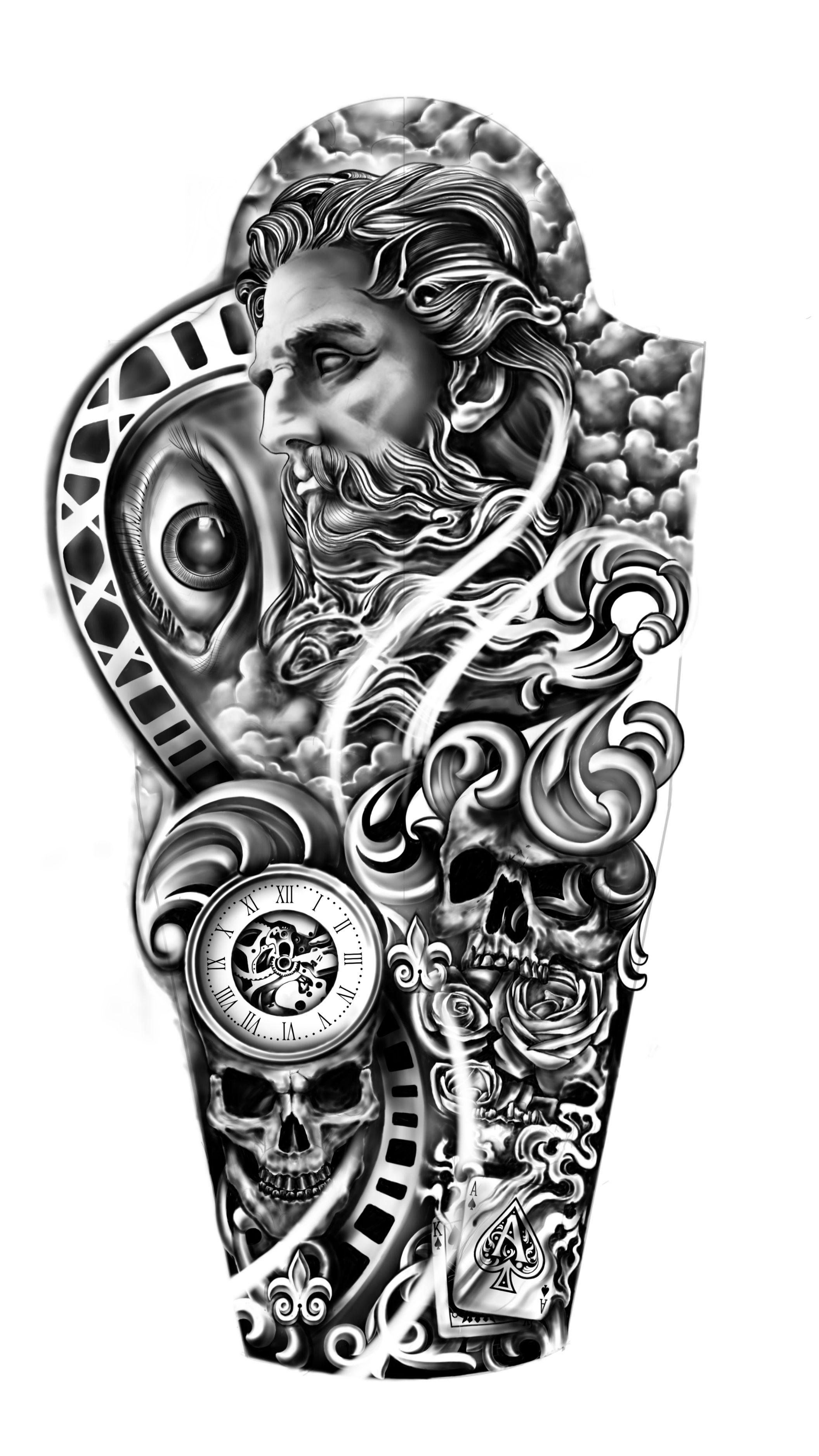 Greek God Zeus Full sleeve tattoo Personal Design Created By Michael Custom Tattoo | Designhill