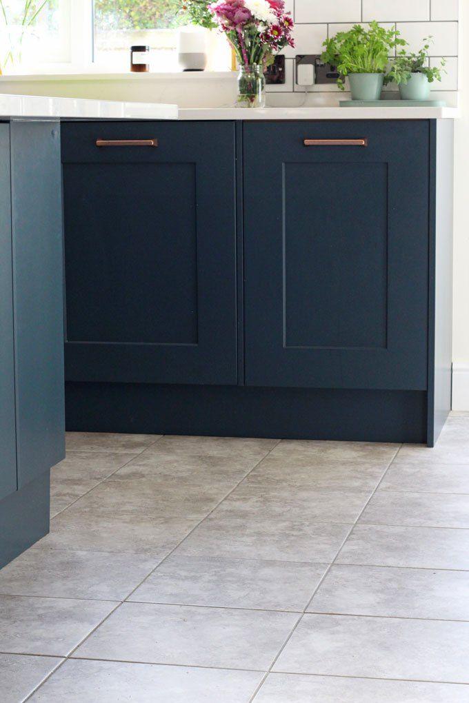 Navy Blue Kitchen Units and British Ceramic Tile - Grey Matt Kitchen ...