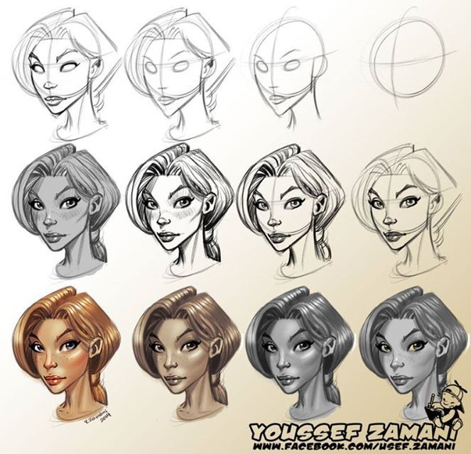 Step By Step Process On How To Draw A Face Character Cartoon Character Design Character Design Character Design Tutorial