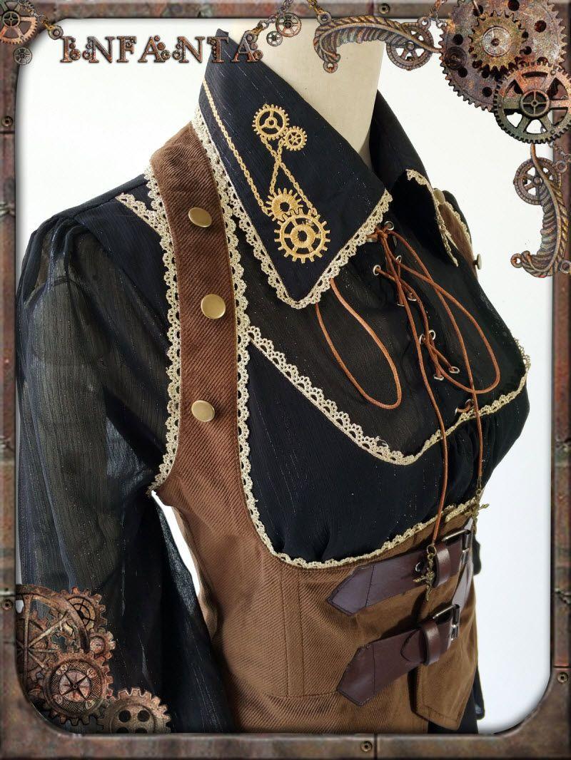 0aeb639768e Infanta -Antique Mechanical Doll- Steampunk Lolita Ouji Lolita Gears  Embroidery Collar Blouse