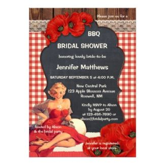 bridal shower invitation featuring a bbq theme with a vintage painting of a woman in red
