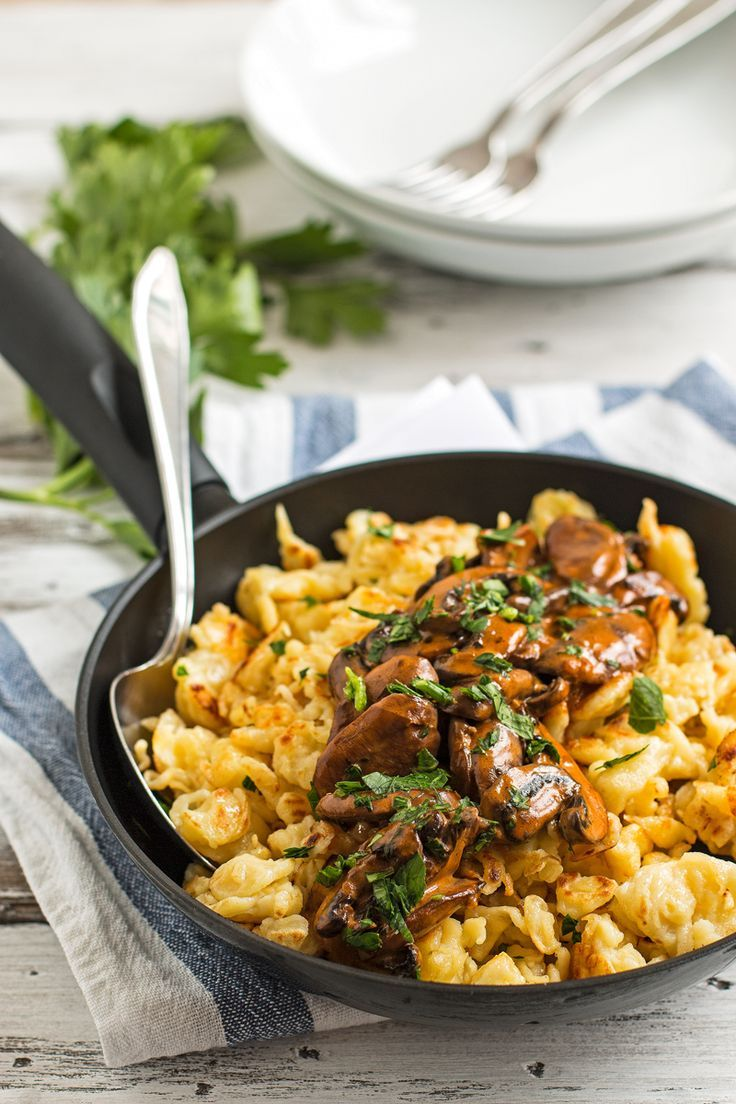 Jägerspätzle {German Dumplings with Mushrooms} | savorynothings.com  #oktoberfest