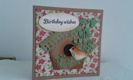 Stampin up build a bird punch. Birthday card.