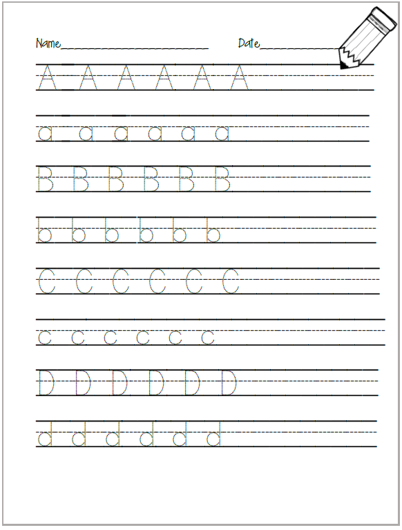 Alphabet Tracing Worksheet Kindergarten Pre K Home Pinterest