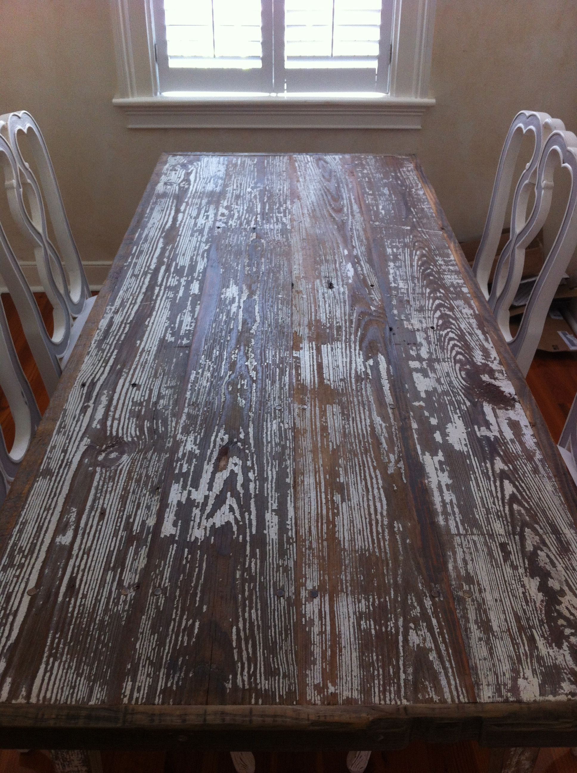 Distressed White Washed Table Made Of Reclaimed Wood Dark