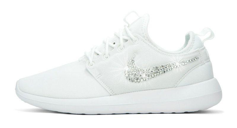 Fashion 2018 2018 glitter kicks Nike Roshe Two Crystallized Swarovski Swoosh  White 5c397a485