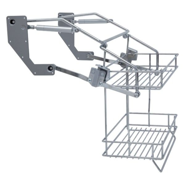 Pull-down shelves in an overhead cabinet are capable of holding ...