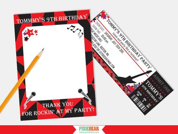 Rock Star Invitation - Rock Star Party Invitation - Rockstar Birthday Invitation - Ticket Invitation #rockstarparty
