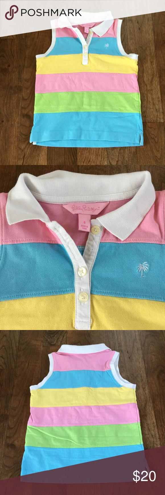 Lilly Pulitzer Girls Top Size 6 Lilly Pulitzer Girls Top. Excellent condition! Blue, yellow, pink, and green with white collar and buttons. Super cute! Lilly Pulitzer Dresses