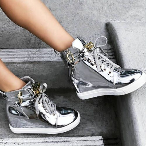 1afdd2569827 silver metallic Lace Up Sneaker Wedges