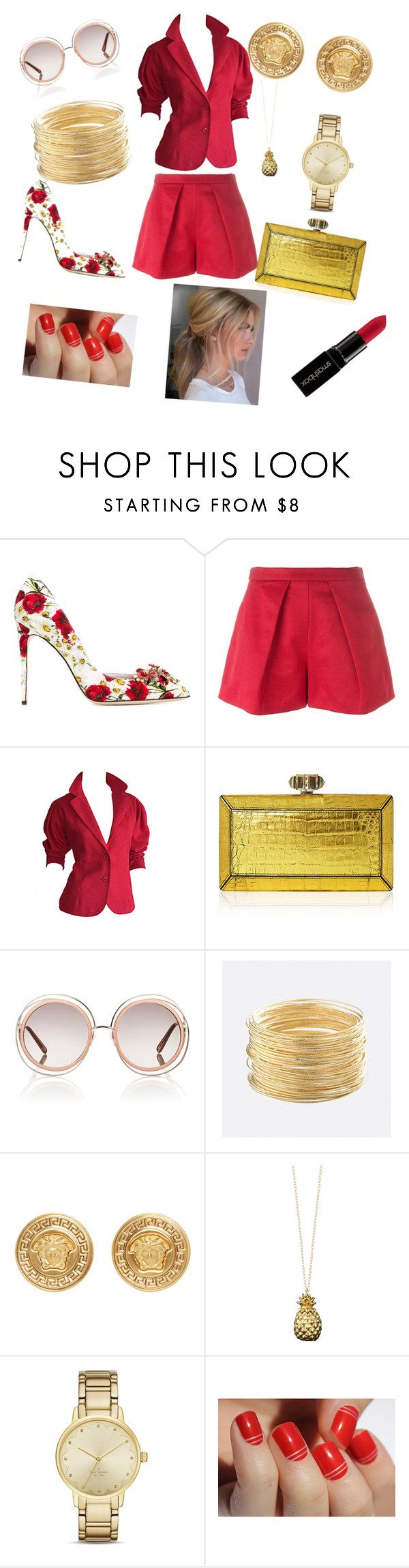 """""""red outfit"""" by didimarley on Polyvore featuring Dolce&Gabbana, MSGM, Halston, Judith Leiber, Chloé, Avenue, Versace, Catherine Zoraida, Kate Spade and Smashbox"""