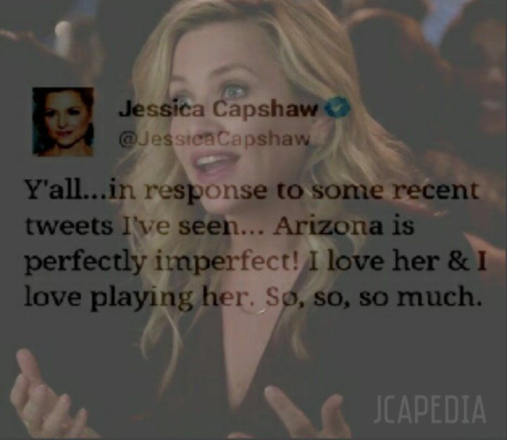 """JCapedia on Twitter: """"2 DAYS #GreysAnatomy I need say:LOVE Arizona & she would not be so lovely if it was not played by Jess.We ❤ u,sweet. https://t.co/cnxu3mloih"""""""