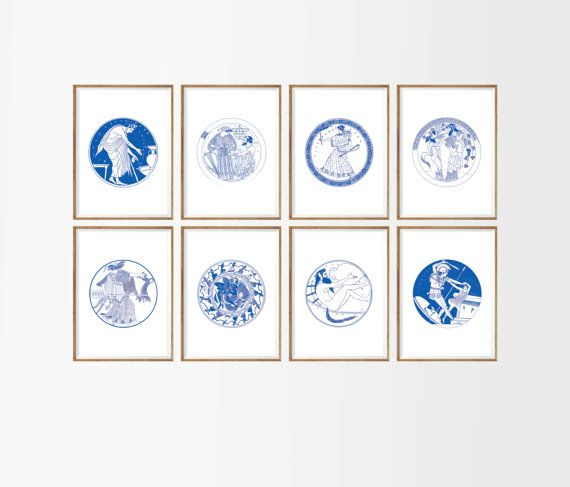 ancient greece art print set of 8 unframedgreek decor greek
