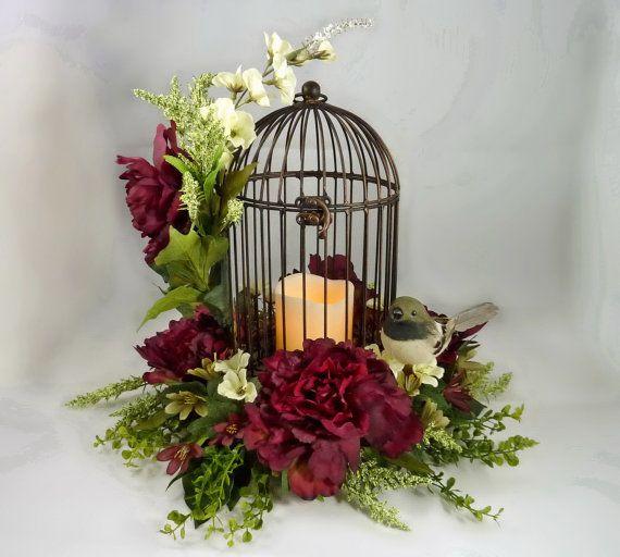 Bird cage floral arrangement flower centerpiece mothers