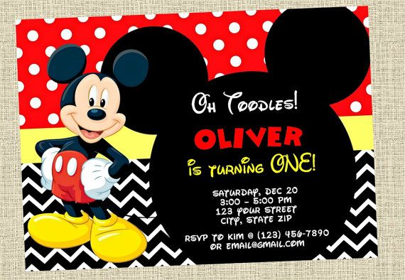 Mickey Mouse Invitación Feliz Cumpleaños Invitar Disney