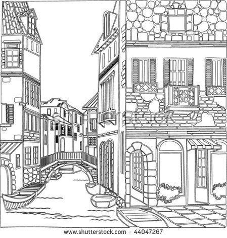 old town coloring page Silk Painting Pinterest Adult coloring