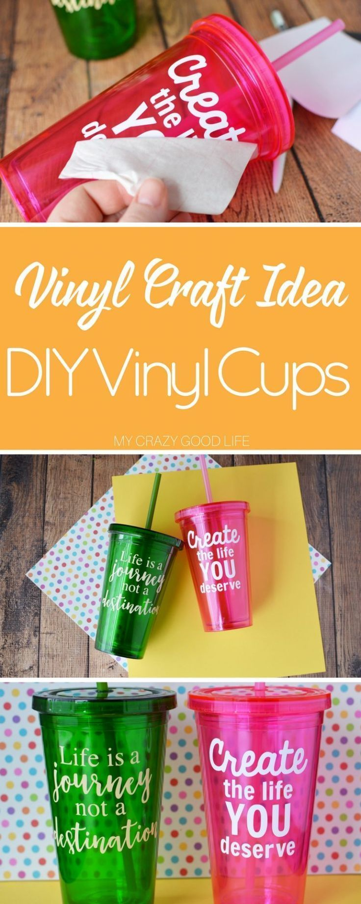 Vinyl Craft Idea | DIY Vinyl Cups - #Craft #Cups #DIY #Idea #vinyl