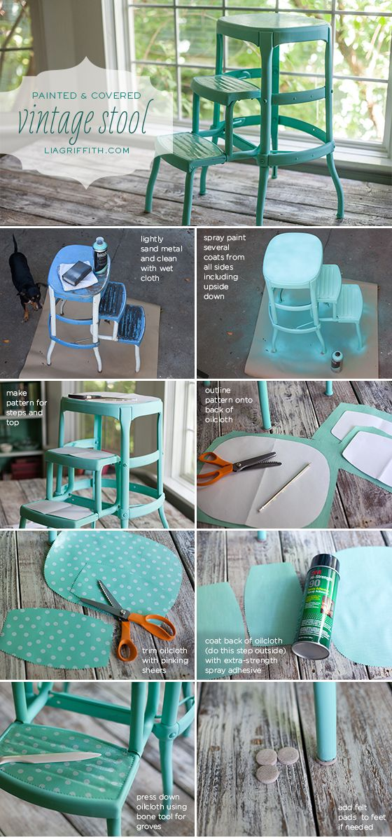 Before And After: My Vintage Step Stool This Would Be Pretty To Redo The  Stool