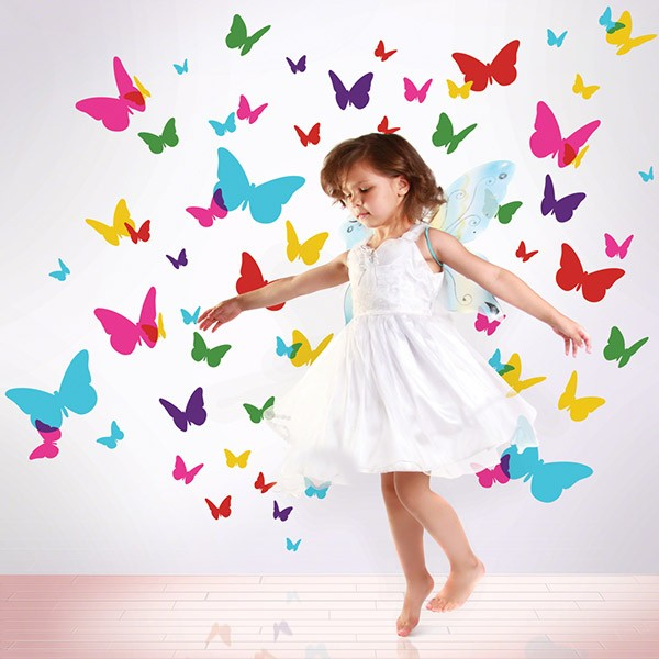 A wall brightened with light bursts of butterfly wall stickers is the perfect backdrop for pretend garden parties with Mr. Bunny and his buddies. Our vinyl peel and stick kids wall decals are removable, reusable, non-toxic, BPA free and 100% made in the USA!  $50.00