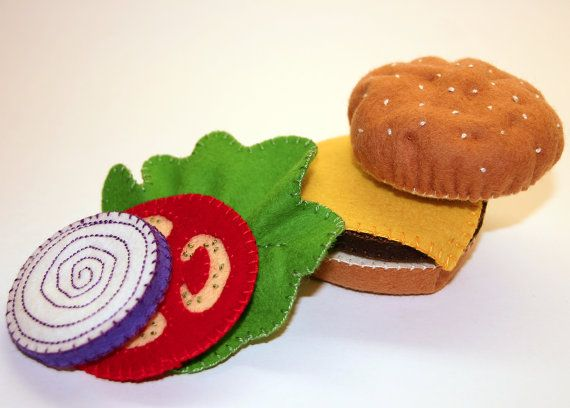 Cheeseburger Wool Felt Play Food Handmade by EvaLauryn on Etsy