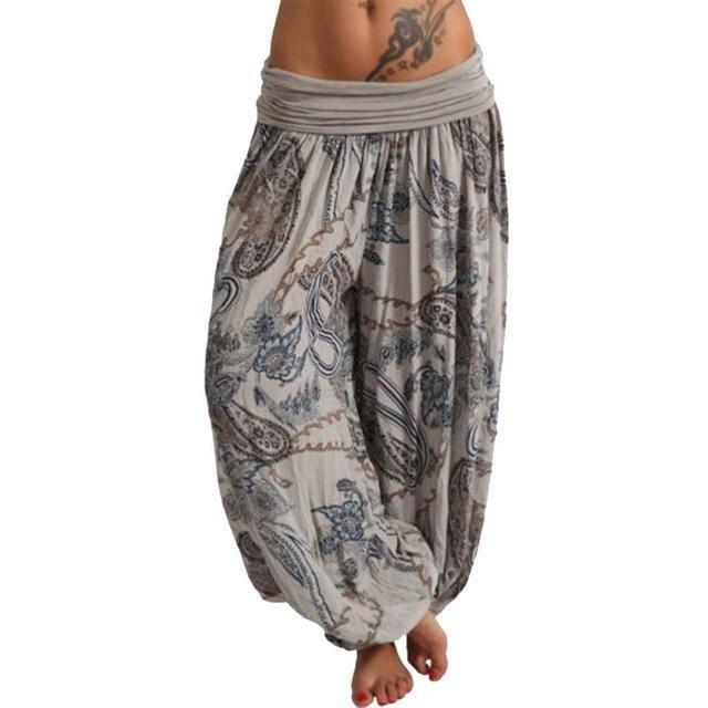 c3fd719ab503a Fashion Women Baggy High Waist Boho Printed Long Pants Hippie Wide  Legrricdress