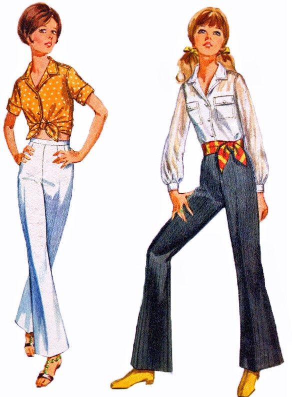 1960s Bell Bottom Pants and Shirt Pattern Simplicity 8009 How to ...