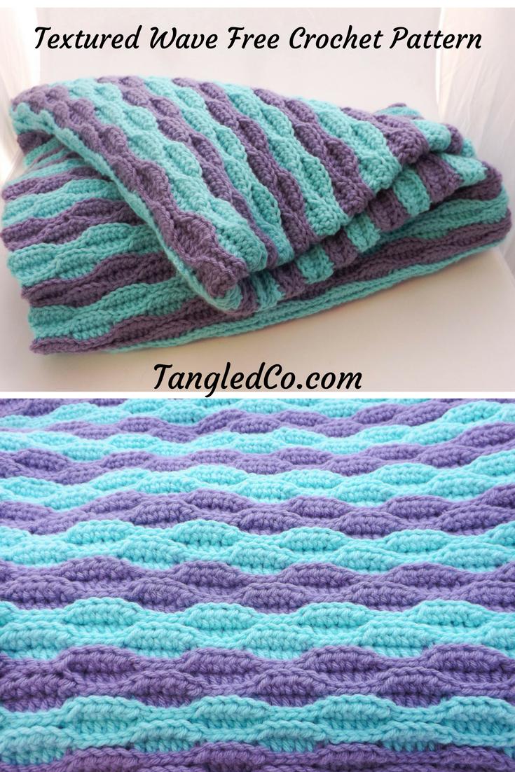 Textured Wave Crochet Blanket