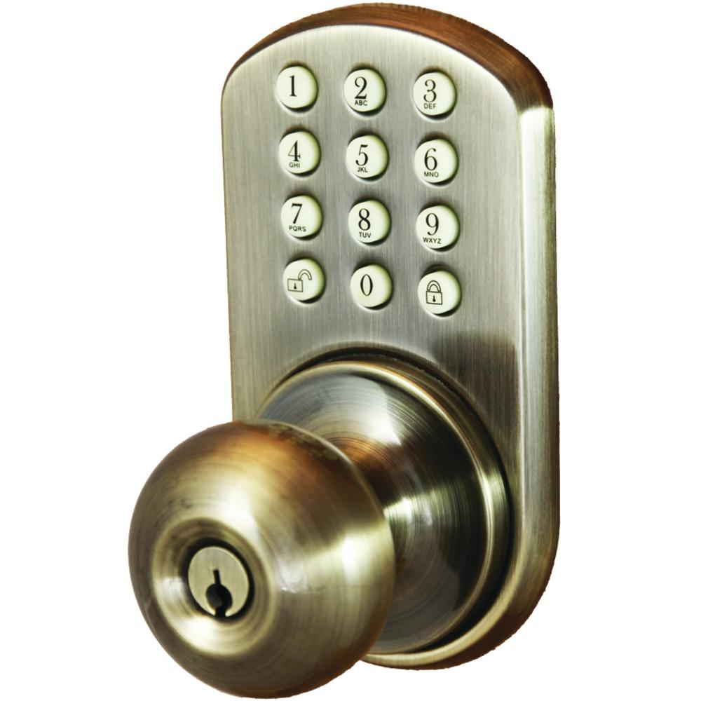 Morning Industry Inc Touchpad Electronic Doorknob Antique Brass How To Build Security Door Key The Knob Allows You Unlock And Lock Their Doors Without Keys By Simply Typing In A 2 8 Digit Code Into