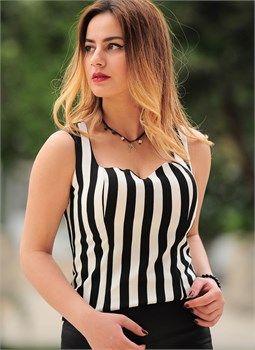 Bayan Bluz Çizgili Siyah Beyaz