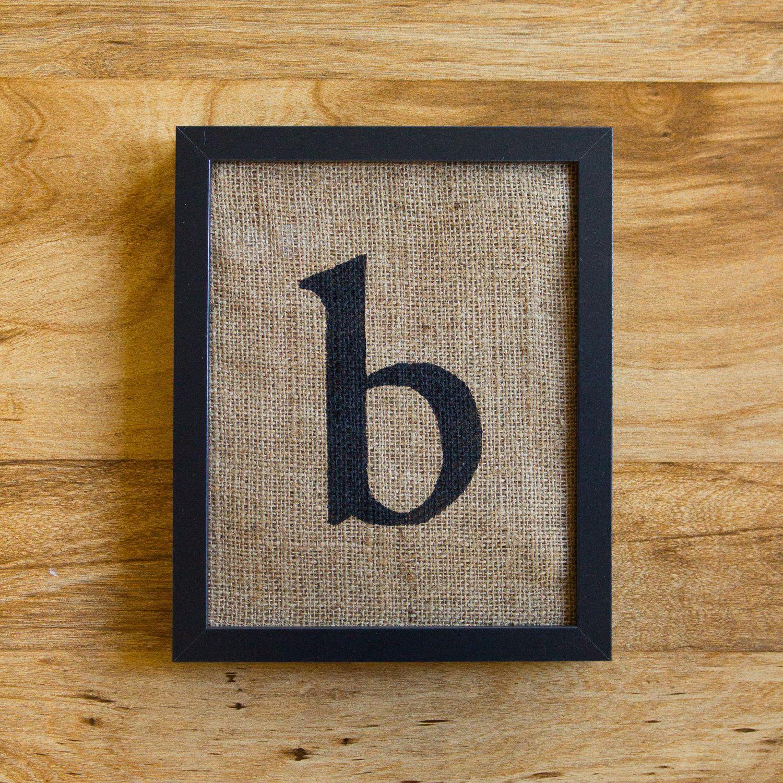 Letter B Burlap Wall Decor Alphabet Art Monogram Lowercase 20 00