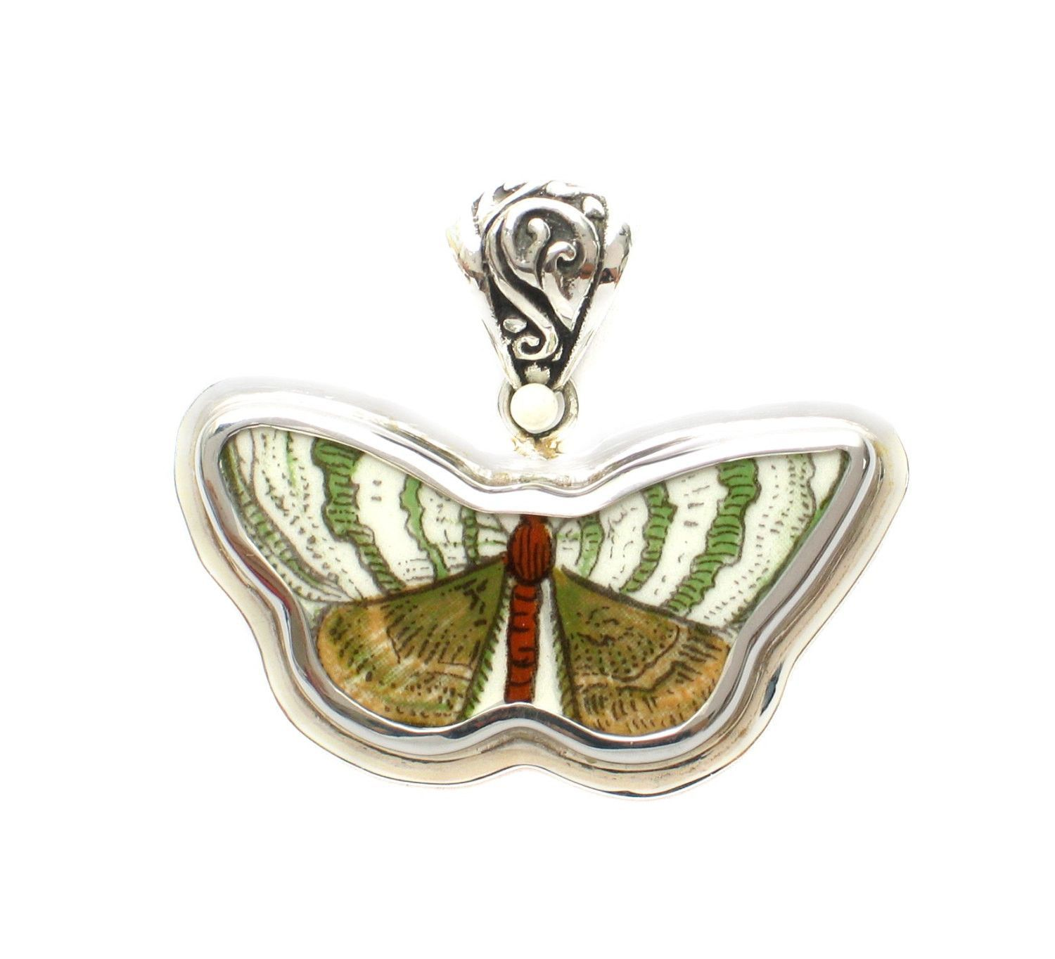 Broken China Jewelry Portmeirion Botanic Garden Green Brown White Butterfly Moth Sterling Pendant