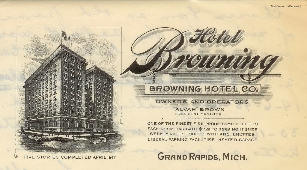 Lithograph Of The Hotel Browning 1917 Grand Rapids Hotel Rapids