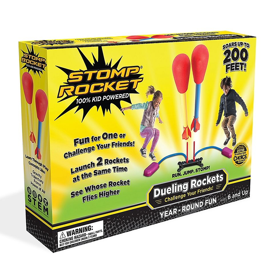 4 Rockets and Toy Rocket Launcher Stomp Rocket Jr Outdoor Rocket Toy Gift for Boys and Girls Ages 3 Years and Up Glow Rocket