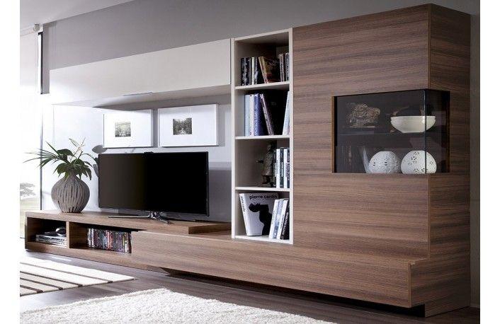 mueble de salón modular efecto vintage y vitrina - Muebles De Diseno Salon
