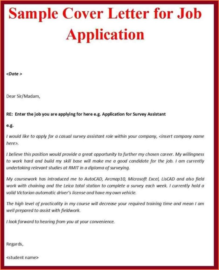 Application for employment letters