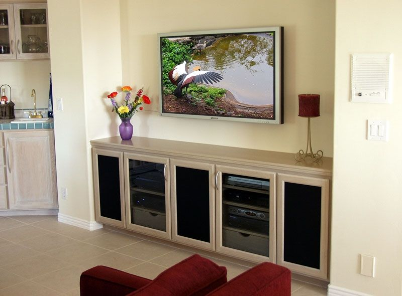 Custom made custom built in tv credenza stand with wall for Wall mounted tv cabinet design ideas
