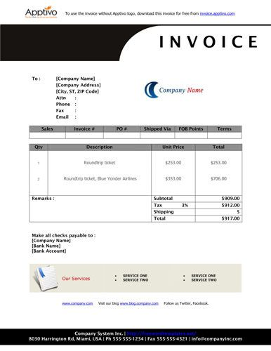 Black Header Simple Invoice Template Invoice Template Pinterest