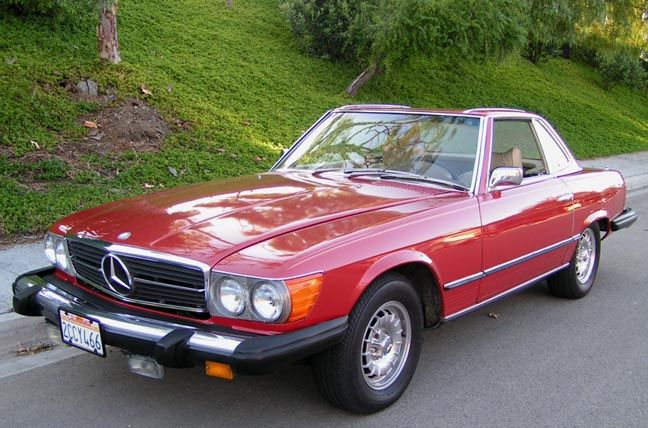 Mercedes 450 sl. Have wanted a candy apple red w/black interior ...