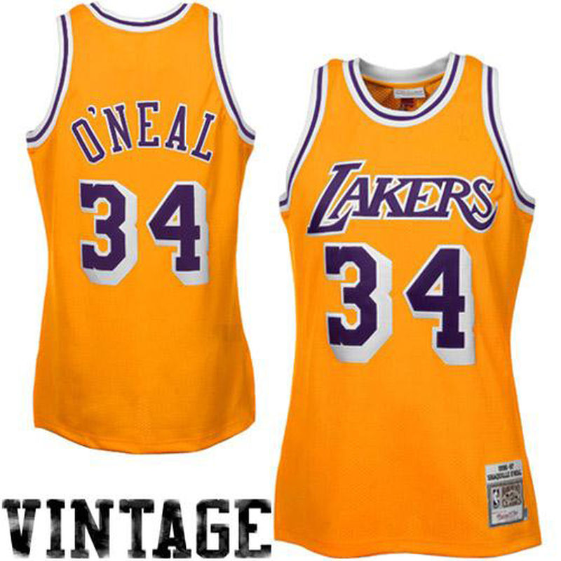 Mitchell   Ness Shaquille O Neal Los Angeles Lakers 1996-97 Throwback  Authentic Home Jersey - Gold 1cb32cae5