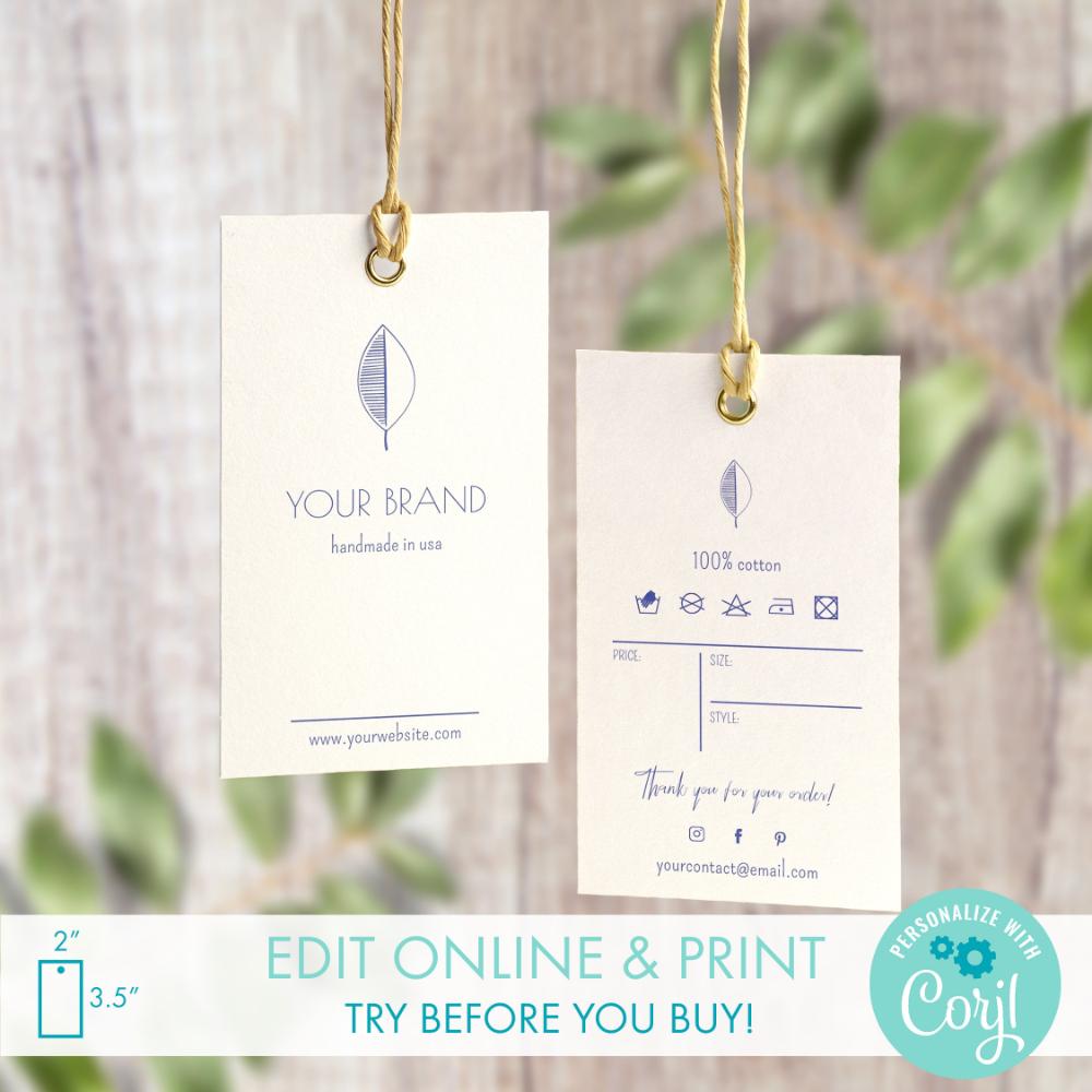 Diy Printable Clothing Hang Tag Template 2 X 3 5 Etsy Hang Tags Hang Tags Clothing Hang Tag Design