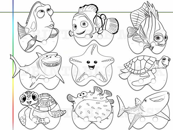 Finding Nemo Dory Printable Coloring Masks, kids costume