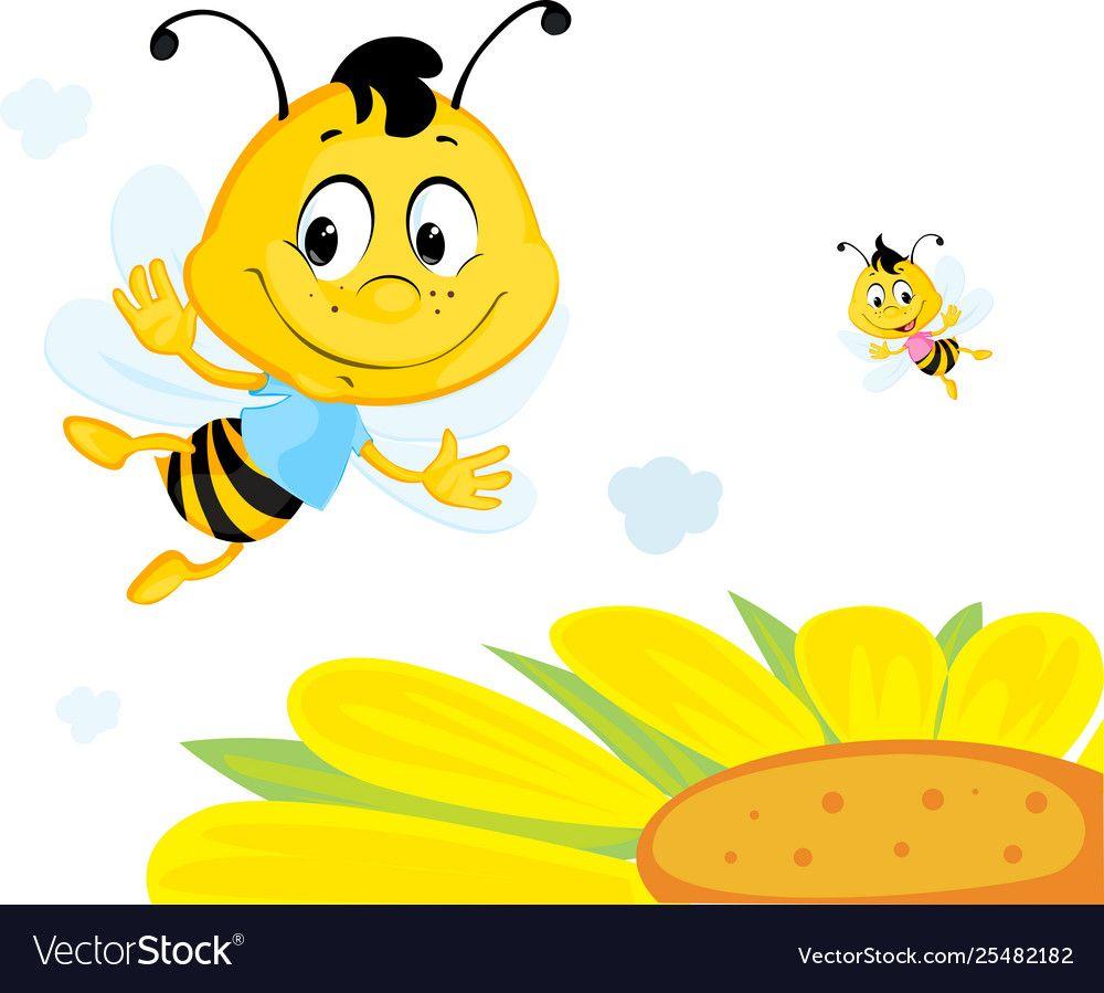 Bee Flies Over Yellow Flower Cute Cartoon Vector Image