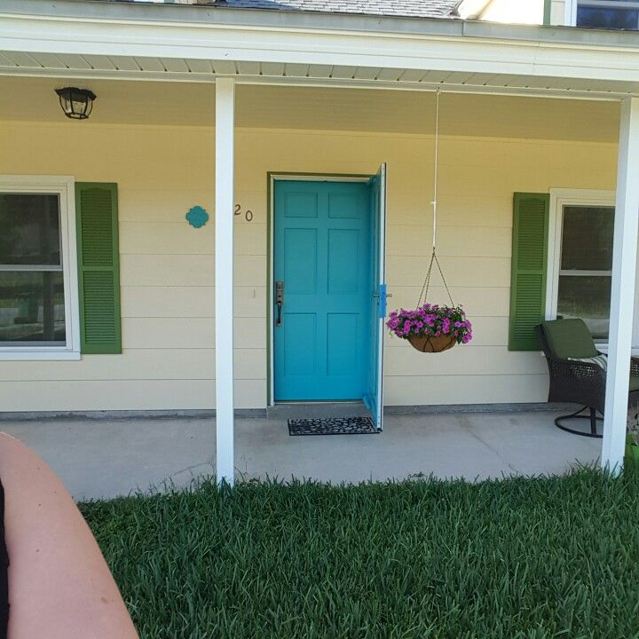 Painted my front door \ exotic sea\  color from lowes using olympic enamel ... : exotic front doors - pezcame.com