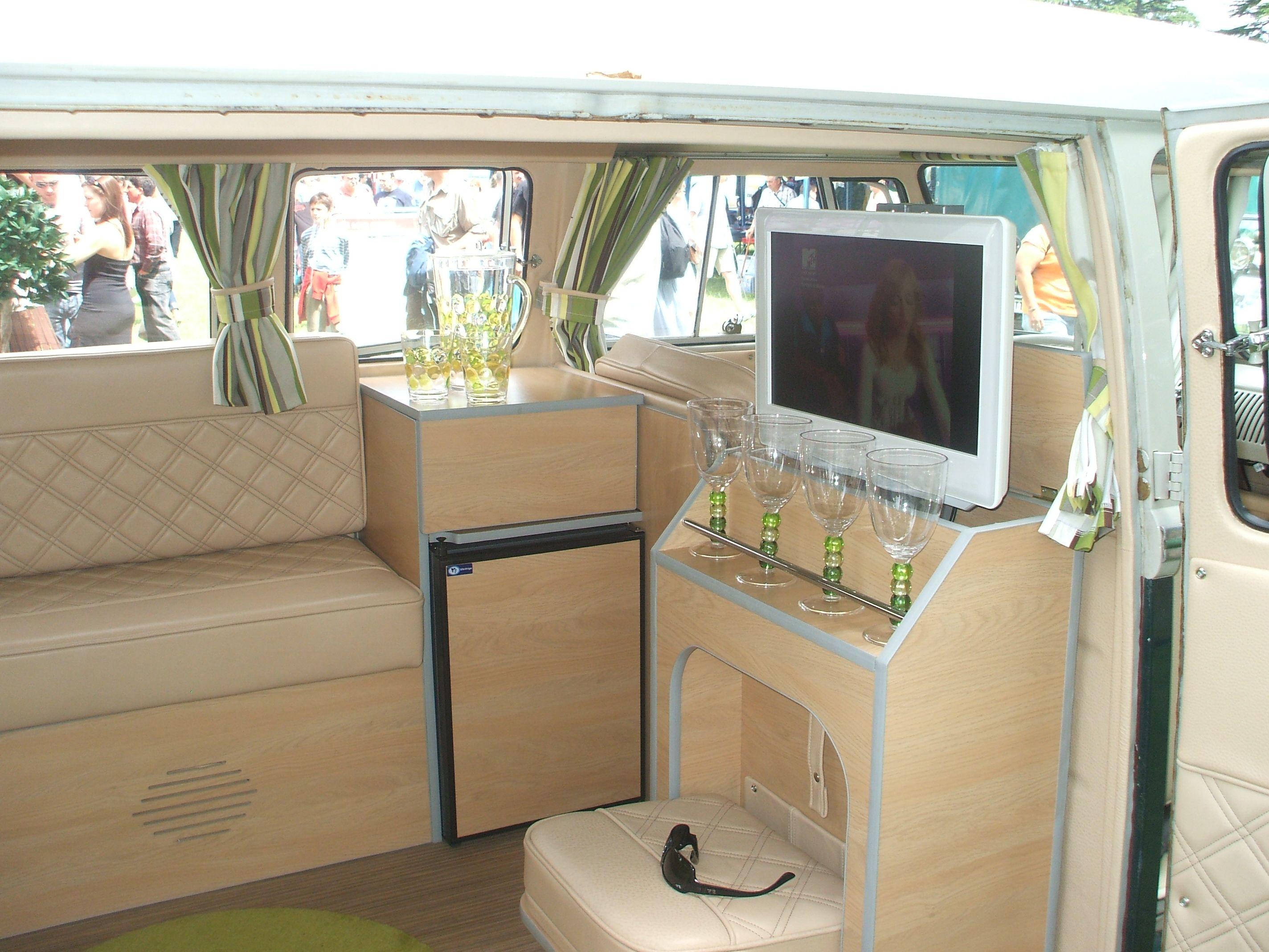 Restored Vw Camper Van Storage With Drop Down Seat Bus Interior Vw Bus Interior Vw Camper