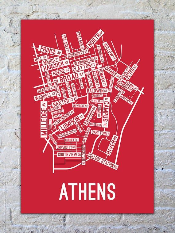 Athens, Street Map Screen Print College Town