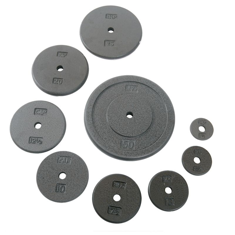 Cap barbell standard free weight plate 1inch gray in